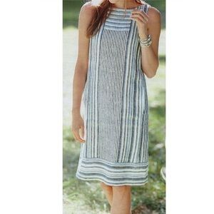 J Jill Love Linen striped blue dress pockets small